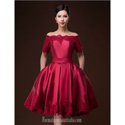 Australia Formal Dresses Cocktail Dress Party Dress Ruby Burgundy Ball Gown Bateau Short Knee Length Satin