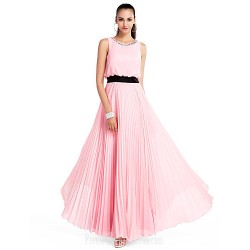 Australia Formal Dress Evening Gowns Prom Gowns Military Ball Wedding Party Dress Candy Pink Plus Sizes Dresses Petite A-line Princess Jewel Long Floor-length Chiffon