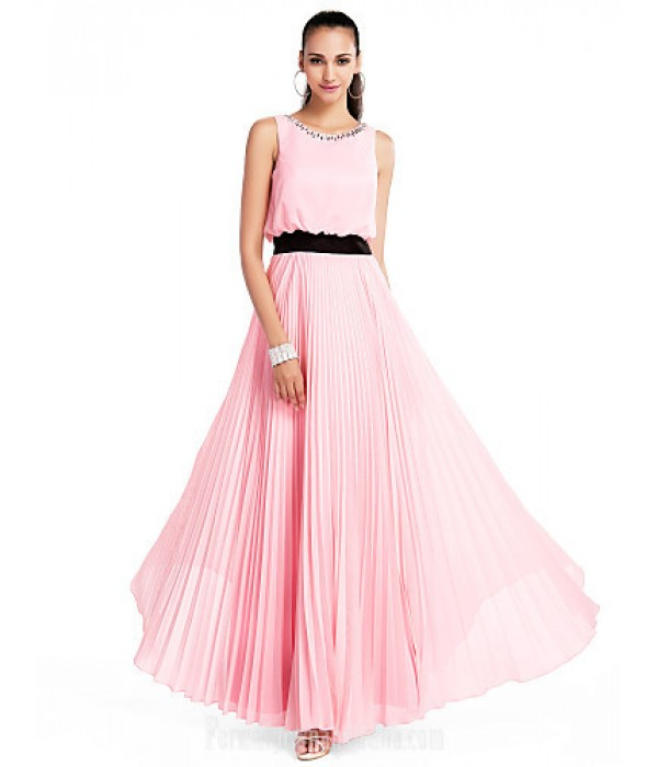 Australia Formal Dress Evening Gowns Prom Gowns Military Ball Wedding Party Dress Candy Pink Plus Sizes Dresses Petite A-line Princess Jewel Long Floor-length Chiffon Formal Dress Australia