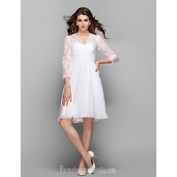 Australia Cocktail Party Dresses Holiday Prom Dress Ivory Plus Sizes Dresses Petite A-line V-neck Short Knee-length Chiffon Lace