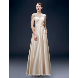 Australia Formal Dress Evening Gowns Champagne Plus Sizes Dresses A-line Bateau Long Floor-length Satin