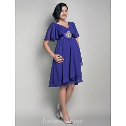 Short Knee Length Chiffon Bridesmaid Dress Regency Maternity A Line Princess V Neck