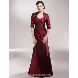 A-line Plus Sizes Dresses Petite Mother of the Bride Dress Burgundy Long Floor-length Half Sleeve Taffeta