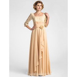 A-line Plus Sizes Dresses Petite Mother of the Bride Dress Champagne Long Floor-length Half Sleeve Lace Chiffon