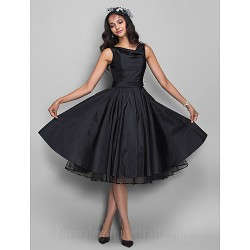 Australia Formal Dresses Cocktail Dress Party Dress Black Plus Sizes Dresses Petite A Line Cowl Short Knee Length Taffeta