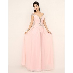 Australia Formal Dress Evening Gowns Pearl Pink Plus Sizes Dresses Petite A-line V-neck Long Floor-length