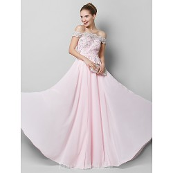 Australia Formal Dress Evening Gowns Blushing Pink A-line Off-the-shoulder Long Floor-length Chiffon
