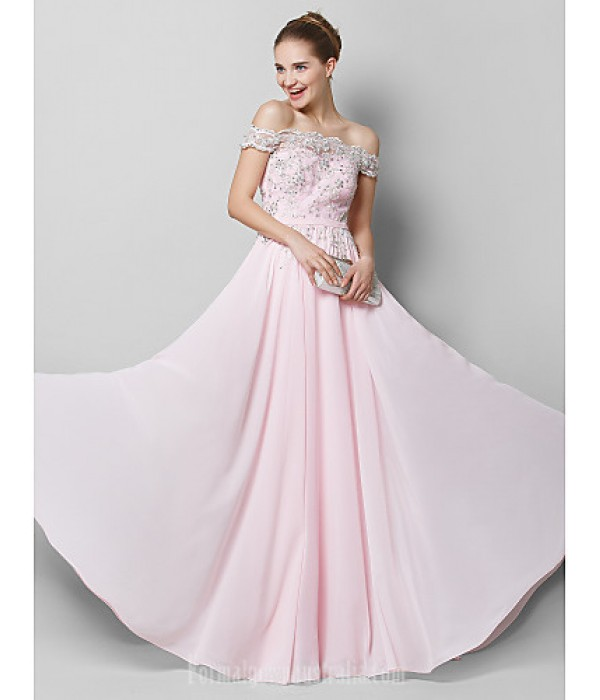 Australia Formal Dress Evening Gowns Blushing Pink A-line Off-the-shoulder Long Floor-length Chiffon Formal Dress Australia