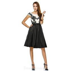 Australia Formal Dresses Cocktail Dress Party Dress Multi-color A-line Scoop Short Knee-length Satin