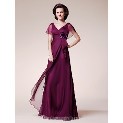 A-line Plus Sizes Dresses Petite Mother of the Bride Dress Grape Long Floor-length Short Sleeve Chiffon