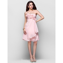 Australia Formal Dresses Cocktail Dress Party Dress Pearl Pink Plus Sizes Dresses Petite A-line Princess Strapless Short Knee-length Chiffon