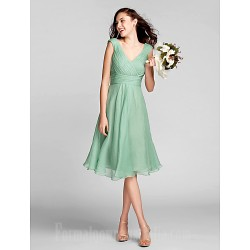 Short Knee Length Chiffon Bridesmaid Dress Sage Plus Sizes Dresses Petite A Line V Neck