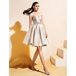 Homecoming Australia Formal Dresses Cocktail Dress Party Dress Champagne Ball Gown V Neck Short Knee Length Satin