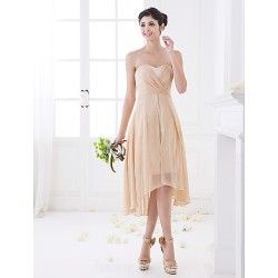 Asymmetrical Chiffon Bridesmaid Dress Champagne Plus Sizes Dresses Petite A-line Sweetheart