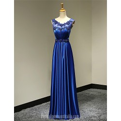Australia Formal Dress Evening Gowns Royal Blue Plus Sizes Dresses Petite A-line Scoop Long Floor-length Satin
