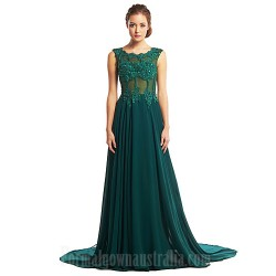 Australia Formal Evening Dress Dark Green Plus Sizes Dresses A-line Scoop Court Train Chiffon