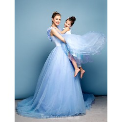 Australia Formal Evening Dress Sky Blue Plus Sizes Dresses Petite Ball Gown Off-the-shoulder Chapel Train Satin Tulle