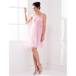 Short Knee Length Chiffon Bridesmaid Dress Blushing Pink Plus Sizes Dresses Petite A Line Sexy One Shoulder