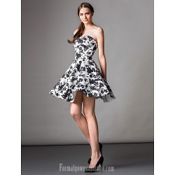 Australia Formal Dresses Cocktail Dress Party Dress Print A Line Strapless Short Knee Length Satin