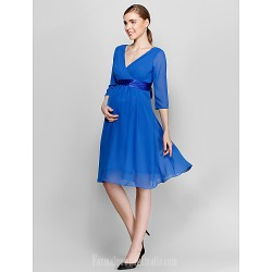 Short Knee Length Chiffon Bridesmaid Dress Royal Blue Plus Sizes Dresses Petite A Line V Neck