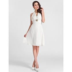 Short Knee-length Chiffon Bridesmaid Dress Ivory Plus Sizes Dresses Petite A-line Princess Halter