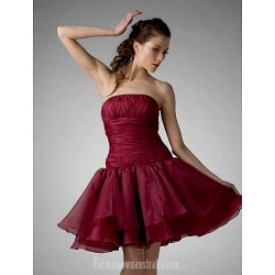 Australia Cocktail Party Dresses Prom Gowns Holiday Sweet 16 Dress Burgundy Plus Sizes Dresses Petite Ball Gown A-line Princess Strapless Short Knee-length