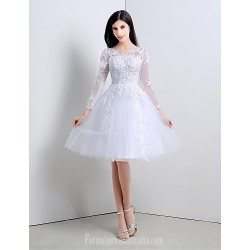 Australia Formal Dresses Cocktail Dress Party Dress Ivory A-line V-neck Tea-length Lace Tulle