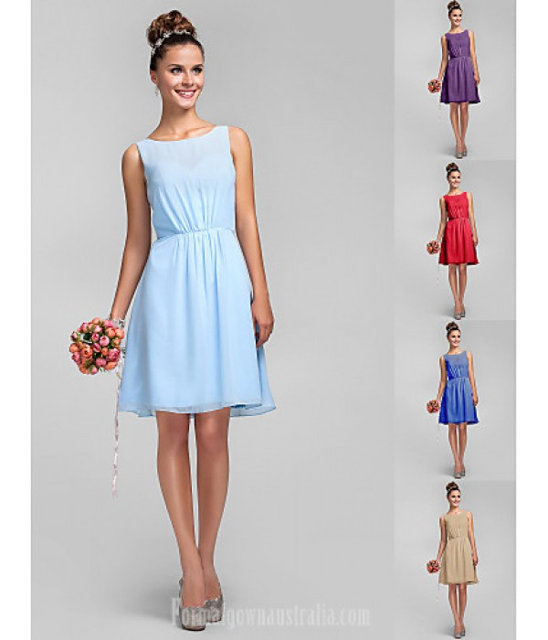 Short Knee-length Chiffon Bridesmaid Dress Sky Blue Royal Blue Ruby Champagne Grape Plus Sizes Dresses Petite A-line Princess Bateau Formal Dress Australia