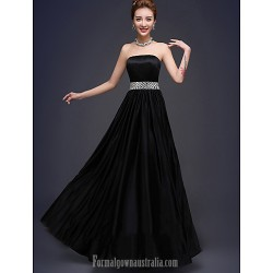 Long Floor-length Stretch Satin Bridesmaid Dress Black A-line Strapless