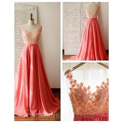 Australia Formal Dress Evening Gowns Multi-color A-line Scoop Court Train Chiffon Lace