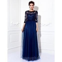 Australia Formal Evening Dress Prom Gowns Military Ball Dress Dark Navy Plus Sizes Dresses Petite A-line Jewel Long Floor-length Tulle Dress