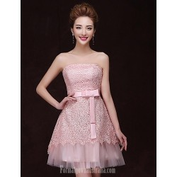 Australia Formal Dresses Cocktail Dress Party Dress Pearl Pink A-line Strapless Short Knee-length Satin