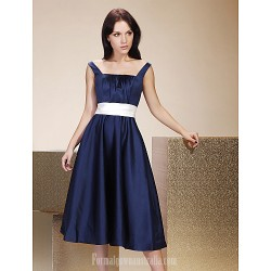 Tea-length Satin Bridesmaid Dress Dark Navy Plus Sizes Dresses Petite A-line Princess Straps Square