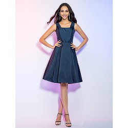 Australia Formal Dresses Cocktail Dress Party Dress Holiday Dress Dark Navy Plus Sizes Dresses Petite A Line Straps Short Knee Length Taffeta