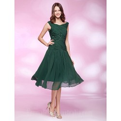Australia Formal Dresses Cocktail Dress Party Dress Holiday Wedding Party Dress Dark Green Plus Sizes Dresses Petite A-line Princess Bateau Short Knee-length Chiffon