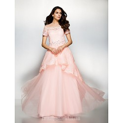 Australia Formal Dress Evening Gowns Pearl Pink A-line Jewel Long Floor-length Lace Dress Tulle