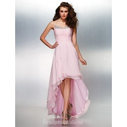 Prom Gowns Australia Formal Evening Dress Blushing Pink Plus Sizes Dresses Petite A-line Spaghetti Straps Asymmetrical Georgette