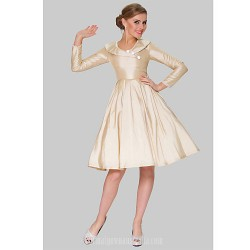 Australia Formal Dresses Cocktail Dress Party Dress Champagne Plus Sizes Dresses A-line Jewel Short Knee-length Taffeta