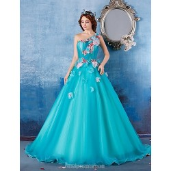 Australia Formal Dress Evening Gowns Sky Blue Ball Gown Sexy One Shoulder Long Floor Length Satin