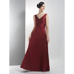 Long Floor-length Satin Bridesmaid Dress Burgundy Plus Sizes Dresses Petite A-line V-neck