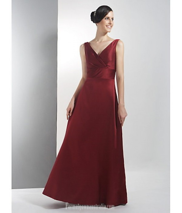 Long Floor-length Satin Bridesmaid Dress Burgundy Plus Sizes Dresses Petite A-line V-neck Formal Dress Australia
