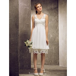 Short Knee-length Chiffon Lace Bridesmaid Dress Ivory Plus Sizes Dresses Petite A-line Princess V-neck
