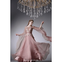 Australia Formal Evening Dress Pearl Pink A-line Jewel Long Floor-length Chiffon
