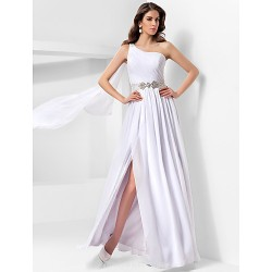 Australia Formal Dress Evening Gowns Military Ball Dress White Plus Sizes Dresses Petite A-line Princess Sexy One Shoulder Long Floor-length Chiffon