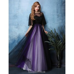 Australia Formal Dress Evening Gowns Multi Color A Line Jewel Long Floor Length Satin Tulle