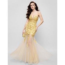 Australia Formal Dress Evening Gowns Gold Fit Flare Strapless Long Floor-length Lace Dress Tulle