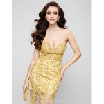 Australia Formal Evening Dress Gold Fit Flare Strapless Long Floor-length Lace Dress Tulle Formal Dress Australia