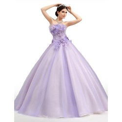 Australia Formal Dress Evening Gowns Lavender Petite Ball Gown Strapless Long Floor-length Organza Tulle Charmeuse