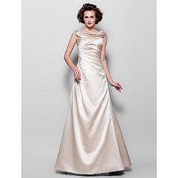 A-line Plus Sizes Dresses Petite Mother of the Bride Dress Champagne Long Floor-length Sleeveless Satin