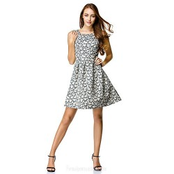 Australia Cocktail Party Dress Print A-line Scoop Short Knee-length Polyester